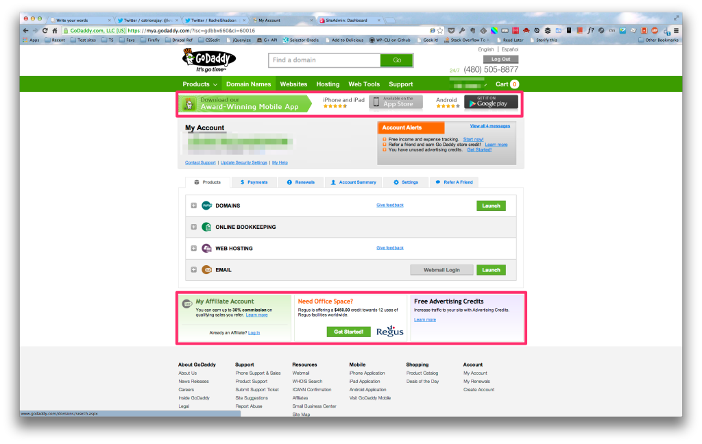 GoDaddy admin panel