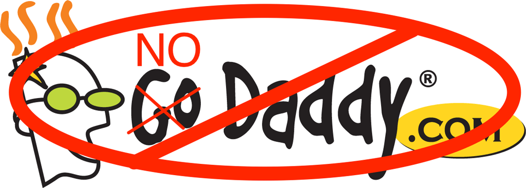 'NoDaddy' logo with circle and line through it