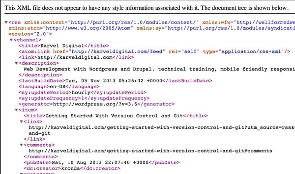 RSS feed in XML format