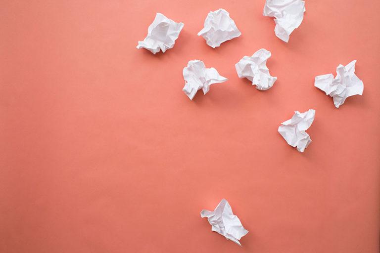 Crumpled writing drafts
