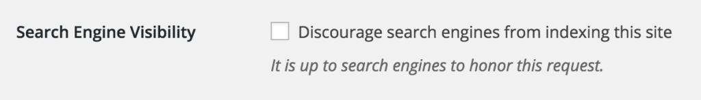 WordPress search engine visibility setting