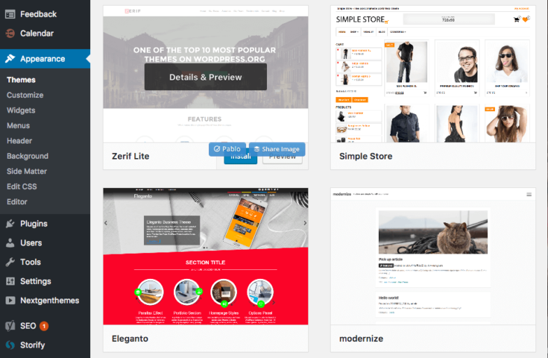 WordPress theme chooser