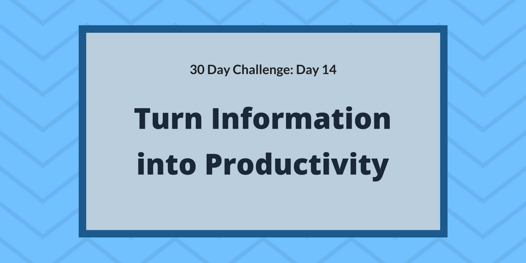Turn information into productivity