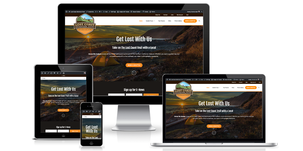 Lost Coast Adventure Tours website screenshots
